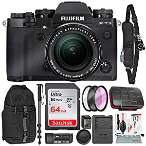 51BRN7FSnyL. SS300  - Fujifilm X-T3 4K Mirrorless Digital Camera (Black) & 18-55mm Lens Kit with 64GB & Tripod/Monopod Deluxe Accessory Bundle