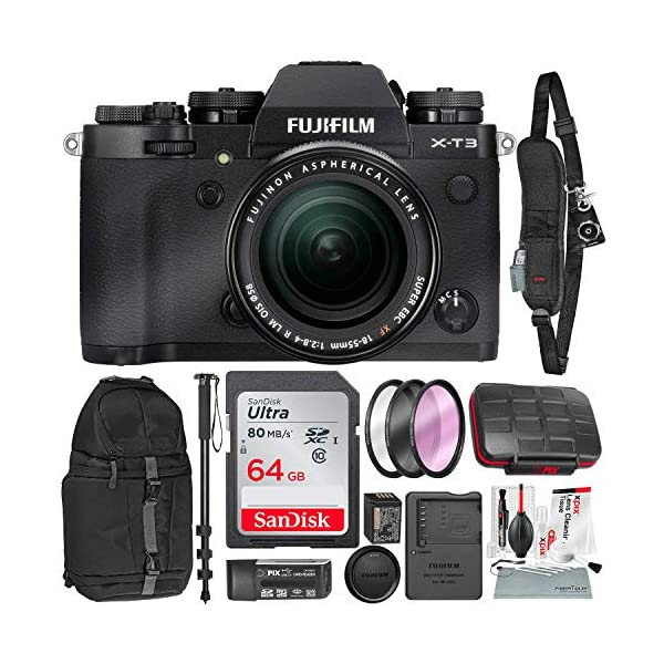 51BRN7FSnyL. SS600  - Fujifilm X-T3 4K Mirrorless Digital Camera (Black) & 18-55mm Lens Kit with 64GB & Tripod/Monopod Deluxe Accessory Bundle
