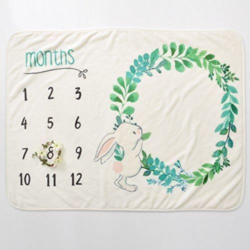 Monthly Milestone Blanket Unisex Hand-Illustrated Rabbit Design 100% Polyester Soft Large 40