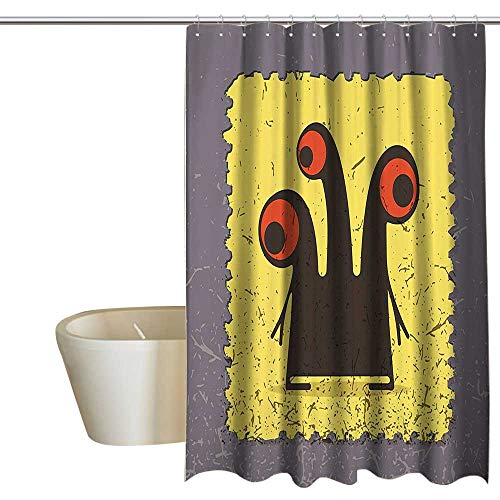 MaryMunger Abstract Kids Bathroom Shower Curtain Trippy Creature Heads and Large Eyes on Yellow Stamp Figure Illustration Travel Shower Curtain W72 x L84 Warm Taupe Yellow