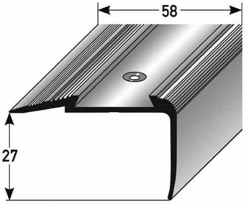 Perfil de escalera / Mamperlán (27 mm x 58 mm) de aluminio anodizado, perforado, bronce oscuro: Amazon.es: Hogar
