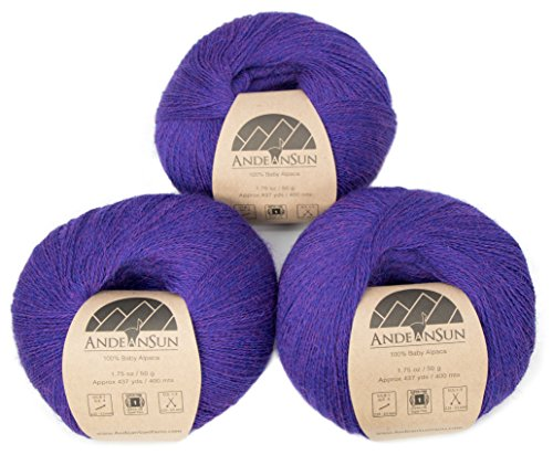 100% Baby Alpaca Yarn (Weight #1) LACE - Set of 3 Skeins 150 Grams Total- Luxurious and Caring Soft for Knitting, Crocheting and Any lace Weight Project - Ultramarine Purple