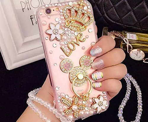 (iPhone 7 Plus Diamond Case, iPhone 7 Plus Crystal Rhinestone Case, Luxury Bling Crystal Diamond Clear Back Rhinestone Phone Case Cover for iPhone 7 Plus, Mouse Ears Ring Buckle)