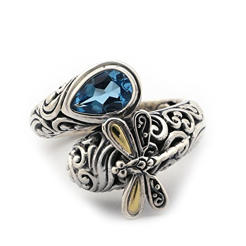(Phillip Gavriel 18k Yellow Gold and Sterling Silver Blue Topaz Filigree Bypass Dragonfly Ring, Size, 7)