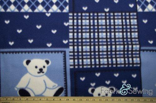 - Blue Teddy Tapestry Anti-Pill Polar Fleece Fabric Polyester 13 Oz 58-60
