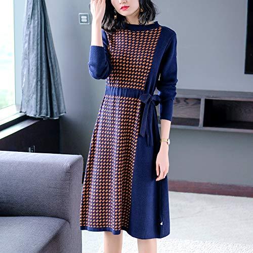 Manga De Jersey Knit Cable Vestido Gallo Larga Fino Pullove Punto Temperamento Ajustado Blue Pata 1wxIB