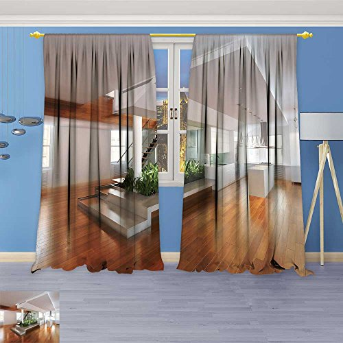 SOCOMIMI 2268 Panel Set Digital Printed Window Curtains Empty Room of Residence with an Atrium Center and Hardwood Floors for Bedroom Living Room Dining Room 96W x 72L inch Atrium Wood Dining Set