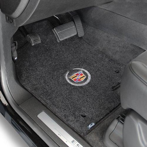 2007-2014 Escalade ESV Ebony Ultimat Front Floor Mats - Cadillac Crest & Wreath Logo (5 Latex Looks New)