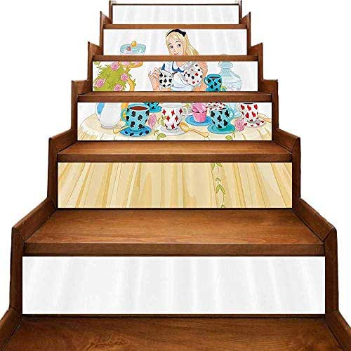 AuraiseHome Alice in Wonderland Decorations Collection Stair Stickers Alice Pours Cup of Tea Eats Cupcakes Flowers Pottery Wonderland Fantasy Vinyl Stickers Multi W 39