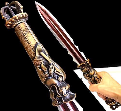 Dragon Handle Chinese Kungfu Dagger Sword Wushu Short Dao Jian Double Edge Sharp Red Damascus Steel Outdoors Hunting Spear Swords