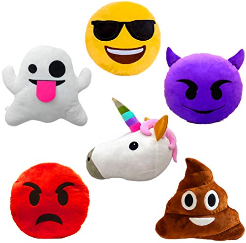 Large Emoji Plush Pillows Bundle, 13 Inches / 32CM Jumbo Stuffed Cushion Pillows Set with Poop, Devil, Unicorn, Ghost, Angry, Smiley (Set of 6)