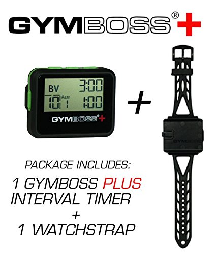 Gymboss Plus Interval Timer and Stopwatch Watch Strap - Bundle (Black with Green Buttons) (Best Run Walk Interval App)