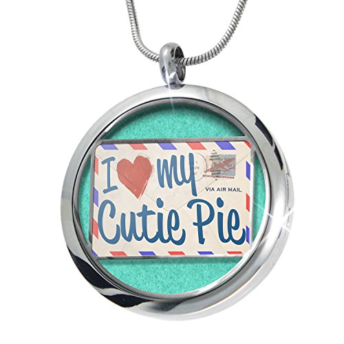 NEONBLOND I Love my Cutie Pie, Vintage Letter Aromatherapy Essential Oil Diffuser Necklace Locket Pendant Jewelry Set