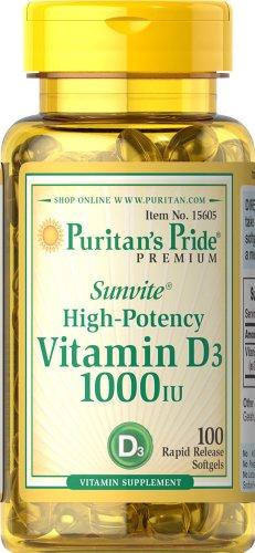 Puritan's Pride Vitamin D3 1000 IU-100 Softgels
