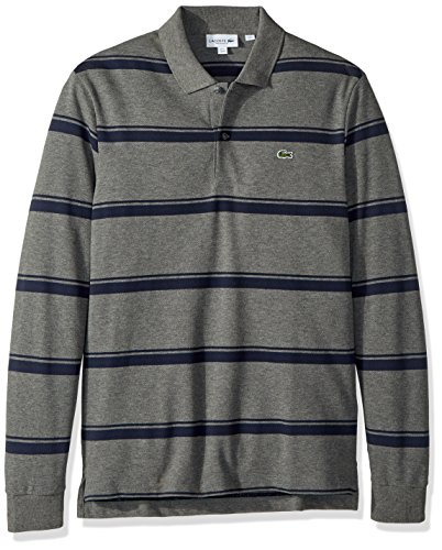 Lacoste Men's Long Sleeve REG FIT Pique Wide Stripe Polo, Stone Chine/Meridian Blue, Small