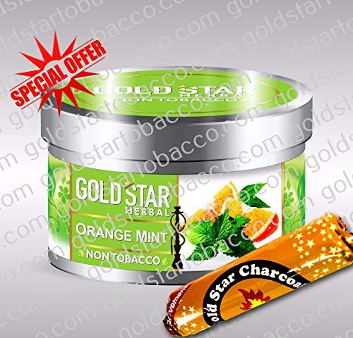 (GOLDSTAR Herbal Non Tobacco Smoke Orange Mint Flavor Premium Hookah Shisha Nargila 200 gm + 1 Roll Goldstar Charcoal for Free)