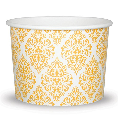 Gold Paper Ice Cream Cups - 8 oz Elegant Cups For Weddings & Receptions - Many Sizes! Fast Shipping - Frozen Dessert Supplies - 100 Count