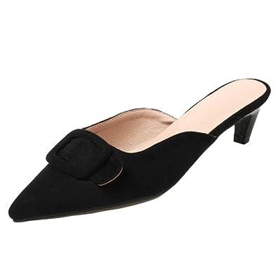 RAZAMAZA Damen Mode Kitten Heel Sandalen Open Back Mule Red Size 32 Asian i3AGiO