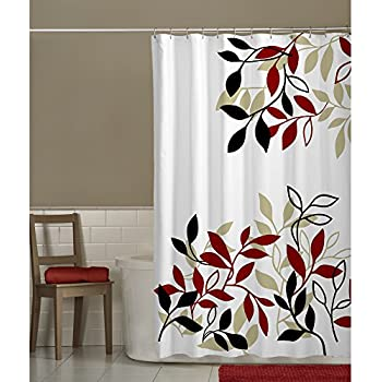 red and tan shower curtain. Maytex Satori Fabric Shower Curtain  Red Amazon com Meridian Home Kitchen