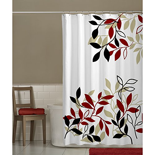red and white shower curtain - 2