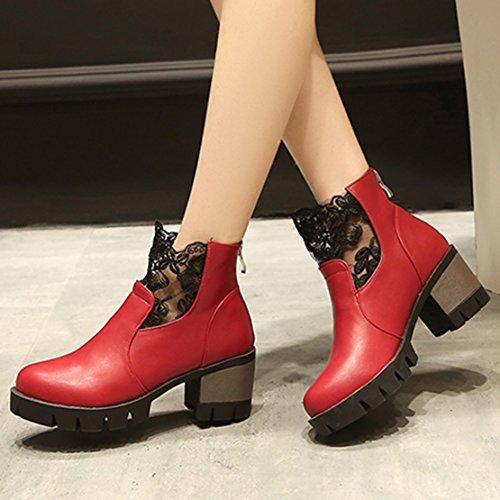AIYOUMEI Damen Herbst Winter Blockabsatz Stiefeletten mit Plateau und Spitze Elegant Modern Kurzschaf Stiefel Rot
