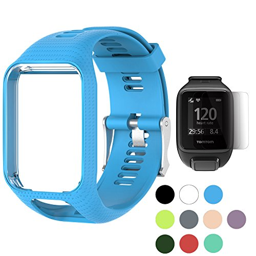 TUSITA WristBand for TomTom Runner 2 3/Spark/Spark 3/Golfer 2/Adventurer, Replacement Silicone Band Strap Accessory (Blue)