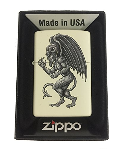 Zippo Custom Lighter - Demon Gargoyle Winged Horror Monster - Cream - Sunglasses Zippo