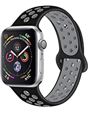 Sport Band For Apple Watch 42mm 44mm Silicone Strap Replacement Wristband iWatch Series 4/3/2/1 - S/M - (Black/Grey)