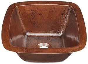 "Sinkology P1U-1212BC Pollock Undermount Handmade Pure Solid 0-Hole Bar Prep Sink, 12"", Aged Copper"