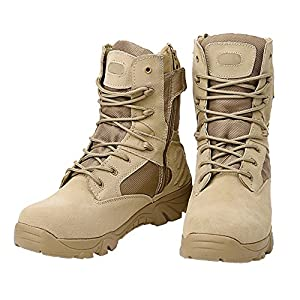 MORNISN Military Tactical Boots For Men Waterproof Hiking Jungle Army Combat Side Zip Work Boots