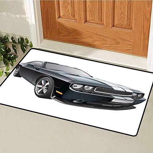 (GloriaJohnson Cars Front Door mat Carpet Black Modern Pony Car with White Racing Stripes Coupe Motorized Sport Dragster Machine Washable Door mat W29.5 x L39.4 Inch Black Grey)