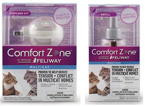 Comfort Zone With Feliway MultiCat Diffuser Kit. Includes 1 Diffuser and 1 - 48 ml Refill (Refill Zone Comfort Farnam Feliway)