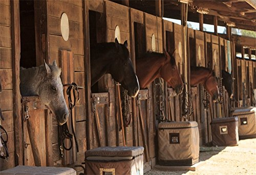 OFILA Stable Backdrop 7x5ft Ranch Horses Photography Background Adult Cowboy Party Decoration Girls Birthday Portraits Western Event Equestrian Club Kids Shoots Digital Video Studio Props ()
