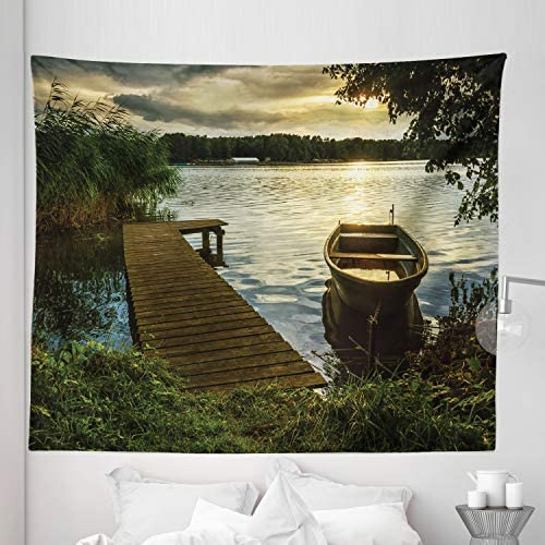Amazon Com Lunarable Seascape Tapestry King Size Boat At Lake Shore Wooden Pier Sunset Sunbeams Romantic Evening Wall Hanging Bedspread Bed Cover Wall Decor 104 X 88 Green Yellow Home Kitchen