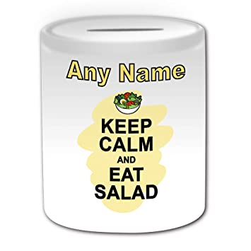 UNIGIFT Personalised Gift - Keep Calm Eat Salad Money Box (Food