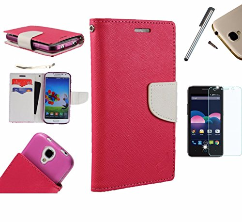 Photo - For Microsoft Lumia 550 Phone Case PU Leather Flip Cover Folio Book Style Pouch Card Slot Wallet + [WORLD ACC®] LCD Screen Protector+ Stylus (Hot Pink/White)