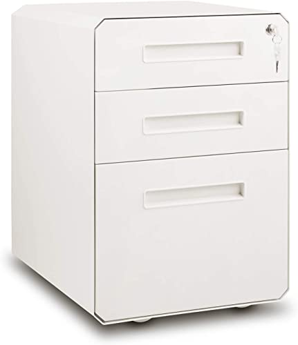 M W 3 Drawer Mobile File Cabinet with Lock, Rhombic Edge Metal Filing Cabinet for Legal Letter A4 Size, Fully Assembled Except Wheels, White