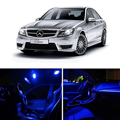 cciyu 14pcs Super Blue Interior LED lights Bulb Package Kit Replacement fit for Mercedes Benz C-Class W203 2000-2007