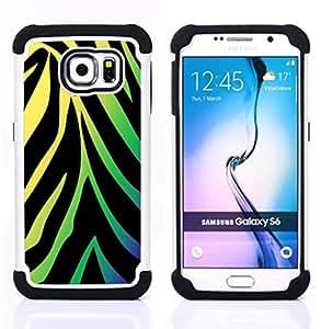- Neon Zebra Pattern/ H??brido 3in1 Deluxe Impreso duro Soft Alto Impacto caja de la armadura Defender - SHIMIN CAO - For Samsung Galaxy S6 G9200