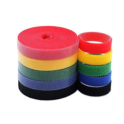 KELIFANG Cable Straps, Reusable Cable Ties, Hook and Loop Nylon Fastening Wire Tape Organizer, Cable Management, Self Gripping Cord Rope Holder (33feet, 5 Roll, Multi-Color)