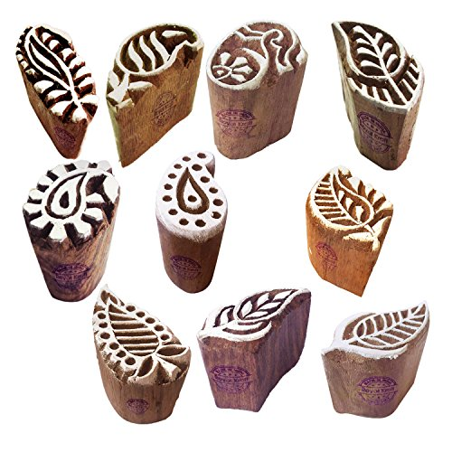 Paper Print Stamps Trendy Small Paisley Pattern Wood Blocks (Set of 10)