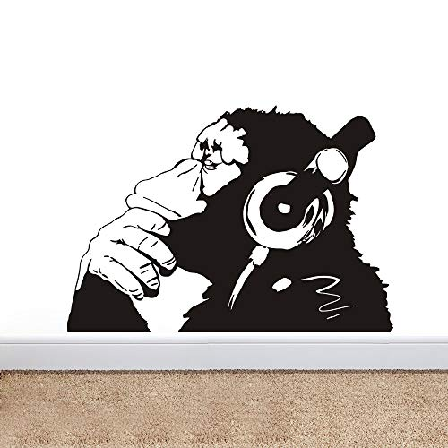 Banksy Vinyl Wall Decal Street Graffiti Monkey Wear Headphone Wall Art Sticker Bansky Chimp Listening to Music Earphone Graffiti Sticker Mural W-23 (Black, 57x83cm)