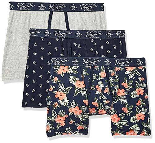 Original Penguin Men's Cotton Stretch Boxer Brief Underwear, Multipack, SKYCPTE/Light/SCH - 3 Pack, X-Large