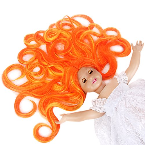 STfantasy American Girl Doll Wig Ombre Orange Yellow Highlights Long Curly Synthetic Hair for AG Doll Bald (Halloween Doll Wig)