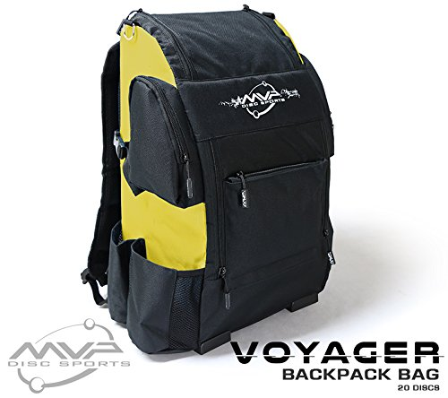 MVP Disc Sports Voyager Backpack Disc Golf Bag (Black w/Yellow)