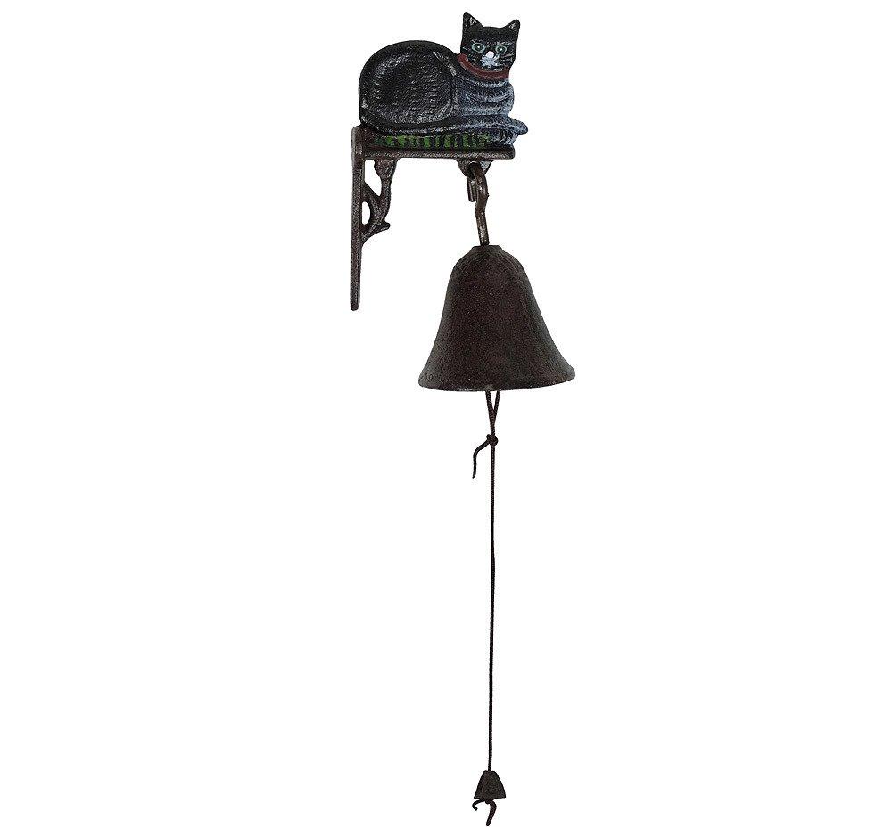 zeitzone T/ürglocke Schwarze Katze Glocke Gusseisen Rustikal Antik-Stil Braun