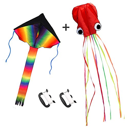 Listenman 2 Pack Kites - Large Rainbow Delta Kite Red Mollusc Octopus Long Colorful Tail Children Outdoor Game,Activities,Beach Trip Great Gift to Kids Childhood Precious Memories by Listenman