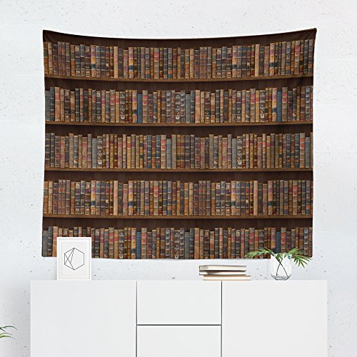 (Bookcase Tapestry - Book Case Books Vintage Retro Wall Tapestries Hanging Décor Bedroom Dorm College Living Room Home Art Print Decoration Decorative - Printed in the USA - Small Medium Large)