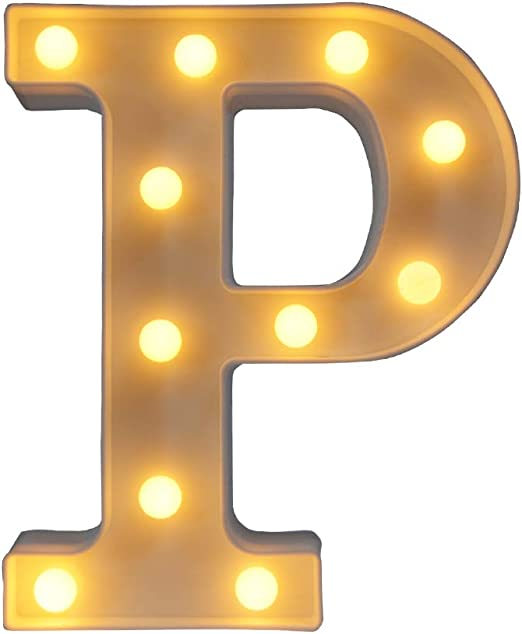 CJWDZ Room Decor, LED Letter Signs, Cute Home Decor, Light Up Letter Signs for Wall, Bedroom, Party Decorations, Wedding, Birthday, Night Light and More(P)