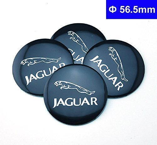 4pcs D024 56.5mm Emblem Badge Sticker Wheel Hub Caps Centre Cover JAGUAR Black XF XJ XJS XK S-TYPE X-TYPE by Benzy